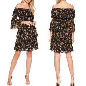Bardot Ditsy Pleated Off the Shoulder Dress